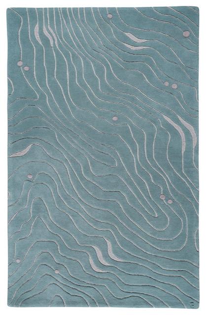 Waves, Hand-Tufted Wool Rug modern-living-room