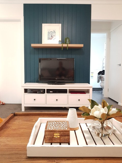 We Creaated A Striking Focal Point For This Tv Wall Midcentury Living Room Newcastle Maitland By Blu Interior Design