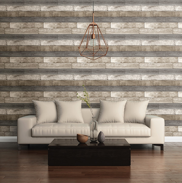 how to put an accent over a letter weathered plank grey wood texture wallpaper industrial 22345 | industrial living room