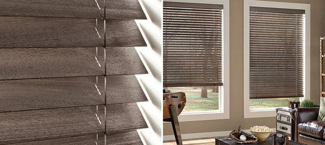 WEATHERED WOOD BLINDS   Hunter Douglas Parkland Weathered Wood Blinds Modern  Living Room Part 8