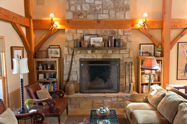 Weekend Retreat - Timber Frame Home traditional-living-room