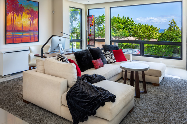 Inspiration for a large modern open concept white floor living room remodel in Hawaii with white walls, no fireplace and a wall-mounted tv