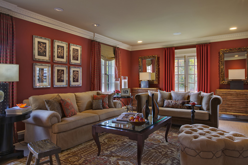 Example of an eclectic formal living room design in New York with red walls