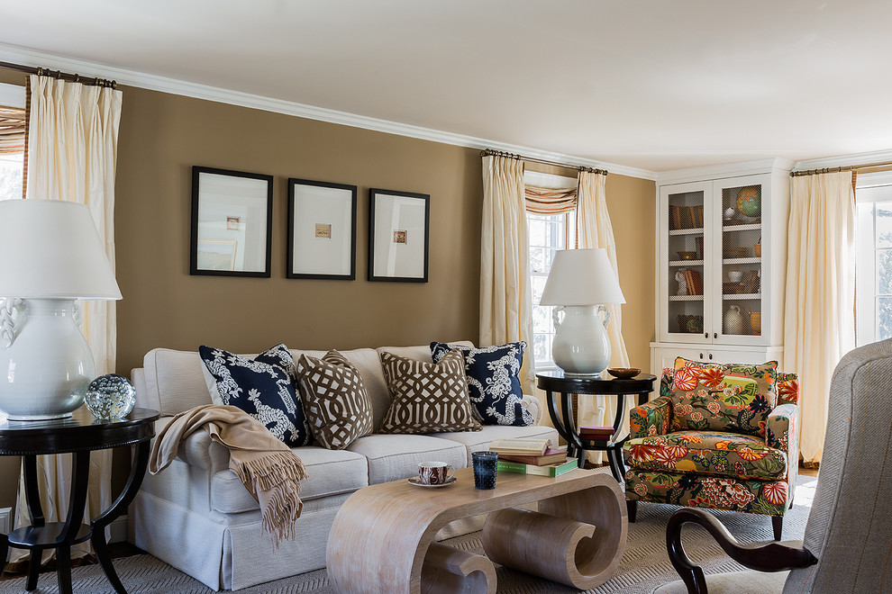 Inspiration for a mid-sized contemporary living room remodel in Boston with brown walls