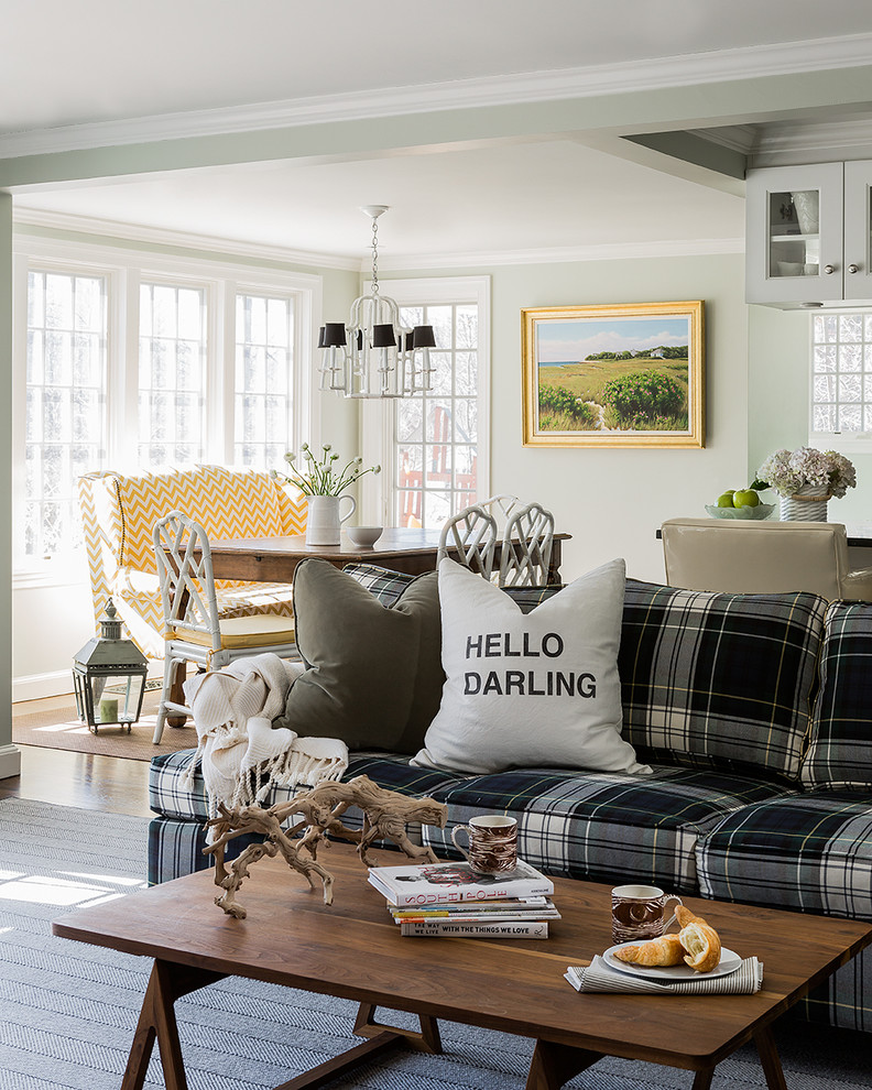 Trendy living room photo in Boston with white walls
