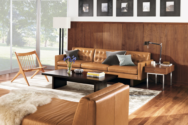 Wells Leather Sofa Room by R&B modern-living-room
