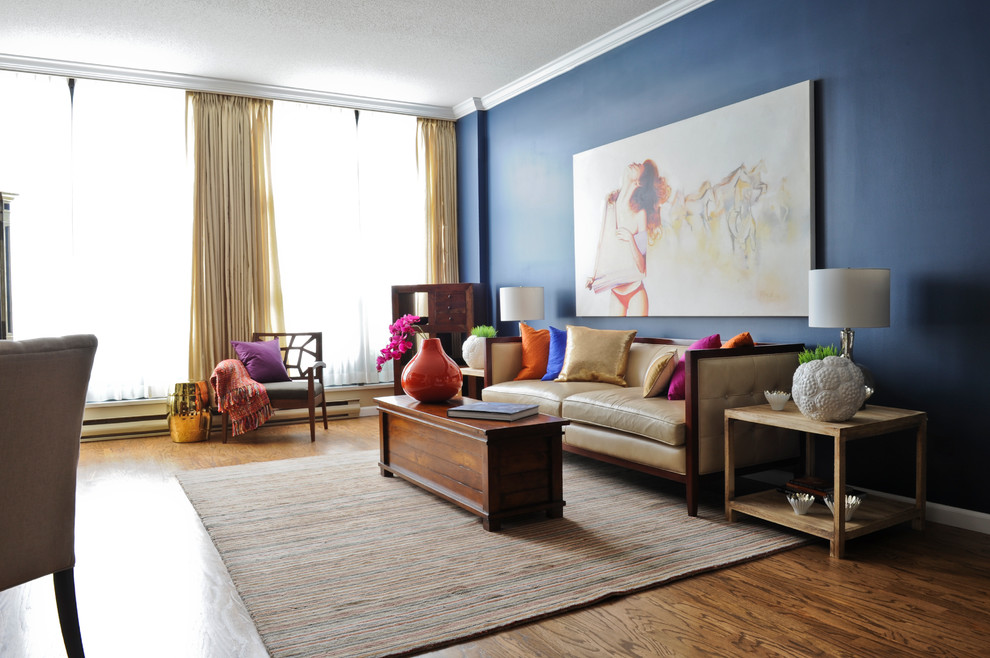 Example of an eclectic living room design in Vancouver