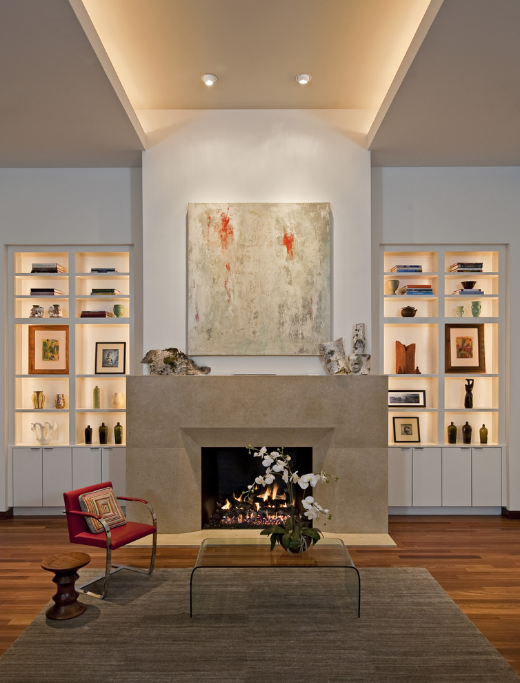 Living room - contemporary living room idea in Austin with white walls and a standard fireplace