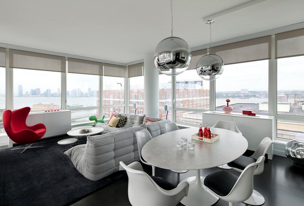Trendy open concept living room photo in New York