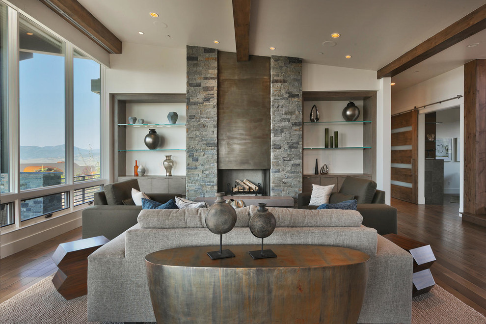 Mid-sized trendy formal and open concept dark wood floor living room photo in Salt Lake City with beige walls, a ribbon fireplace, no tv and a stone fireplace