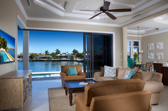 West Indies waterfront home traditional-living-room