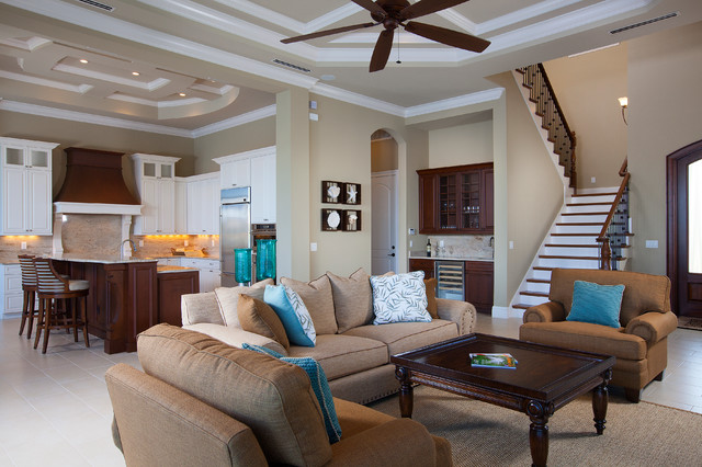 West Indies waterfront home - traditional - living room - miami ...
