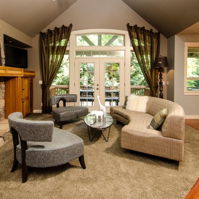 Contemporary Living Room Design Houzz: West Linn Global And Contemporary Blend