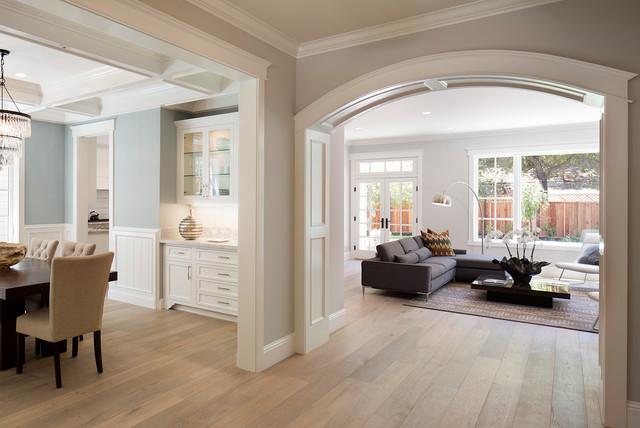 West menlo park shingle transitional living room - Benjamin moore wedgewood gray living room ...