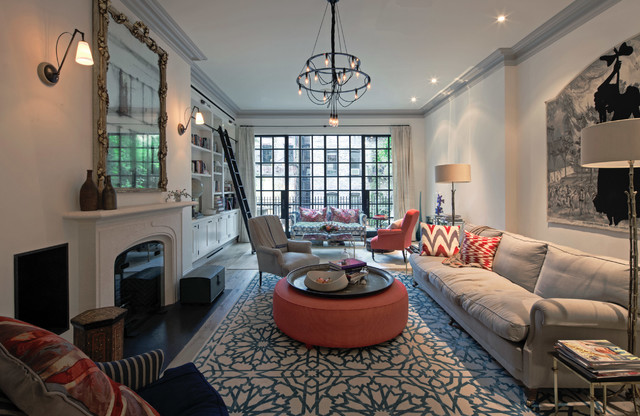 West village townhouse 2 eclectic living room new for Townhouse living room ideas