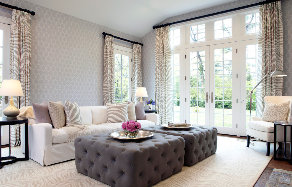 Inspiration for a transitional living room remodel in New York with gray walls