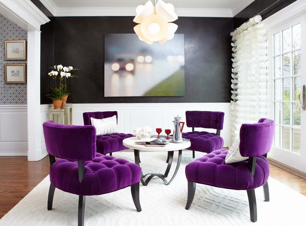 Inspiration for a small contemporary living room remodel in New York with black walls and no fireplace