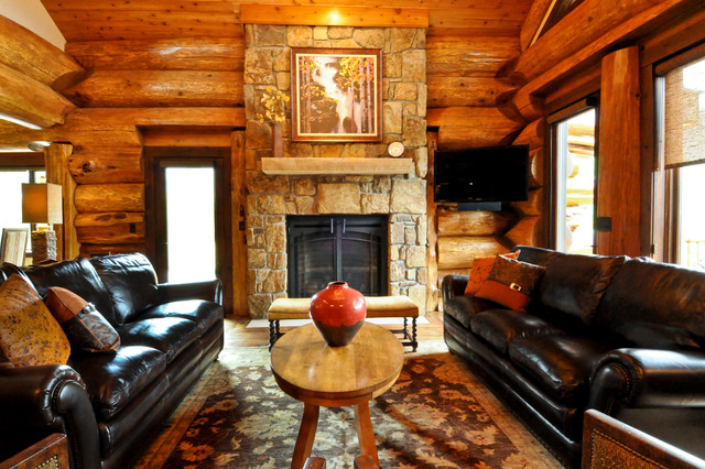 Western red cedar ranch style log home montagne salon for Case in metallo stile ranch