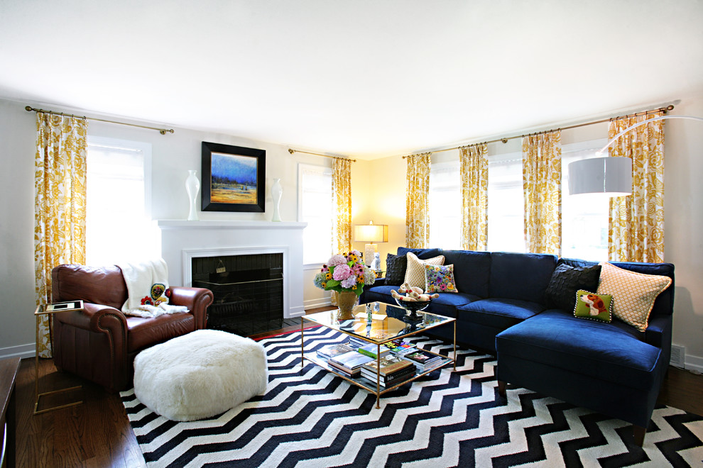 Living room - transitional living room idea in Chicago with white walls