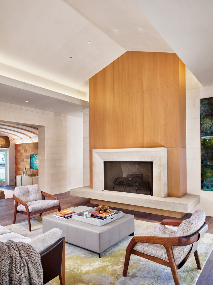 Living room - contemporary open concept medium tone wood floor living room idea in Austin with a standard fireplace and a tile fireplace