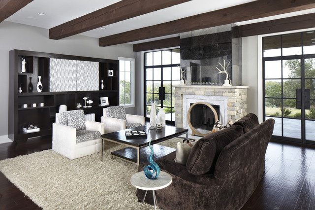 Nice Inspiration For A Contemporary Living Room Remodel In Austin With Gray  Walls And A Standard Fireplace Part 12
