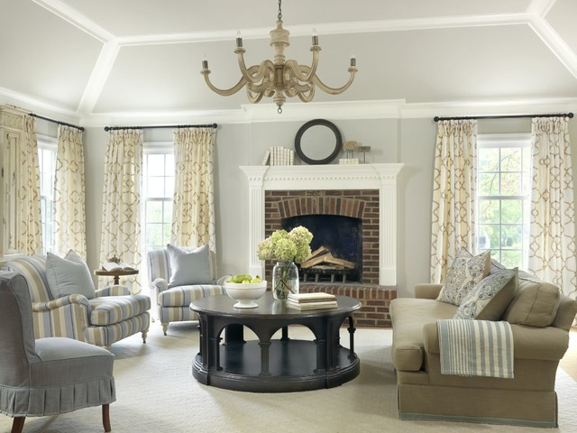 living room drapes. Example of a classic living room design in St Louis with gray walls Living Room Drapes  Houzz