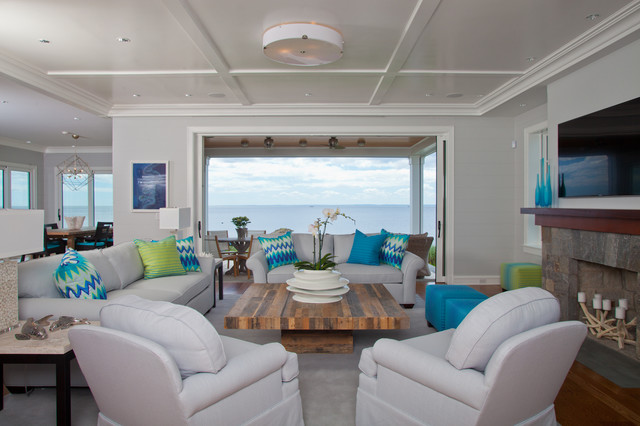 Westport, CT Stunning Beachfront Sanctuary   Full View Of Living Room  Coastal Living