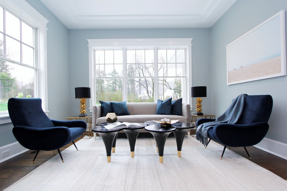 Inspiration for a transitional dark wood floor and brown floor living room remodel in New York with blue walls