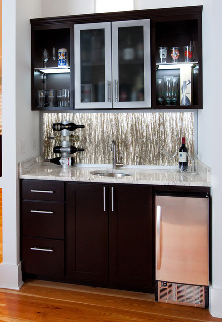 Wet Bar Eclectic Living Room