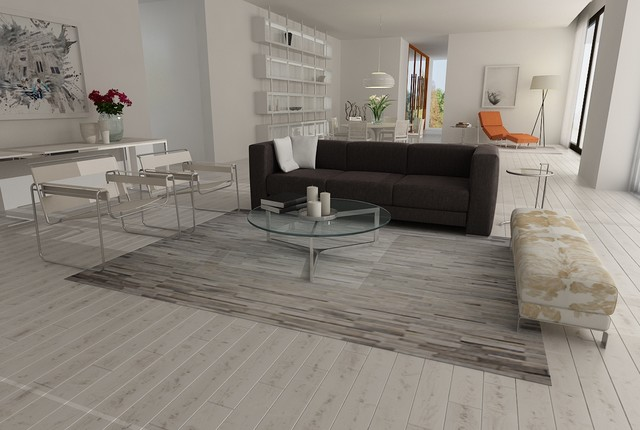 White And Gray Patchwork Cowhide Rug Stripes Design No