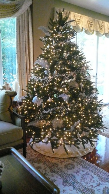 White And Silver Christmas Decorating Traditional Living Room Boston By New England Fine