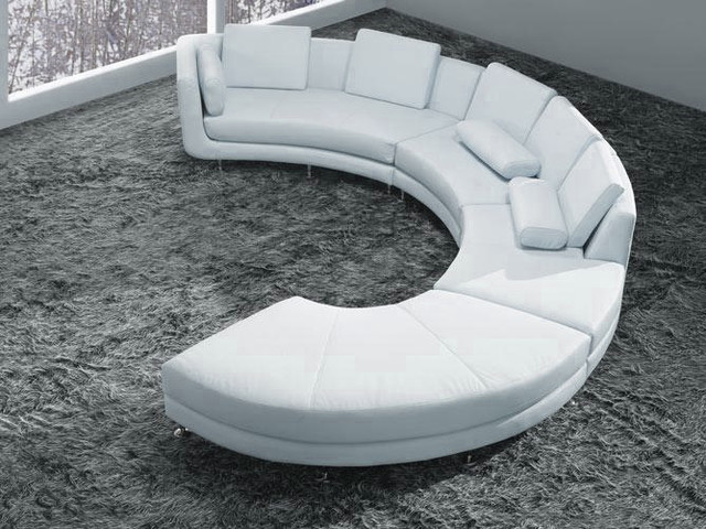 White Bonded Leather Curved Sectional Sofa Set Modern