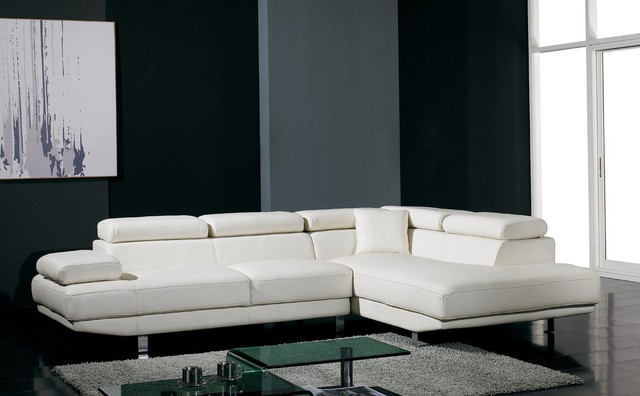 White Bonded Leather Sectional Sofa With Adjule Headrests And Arm Modern Living Room