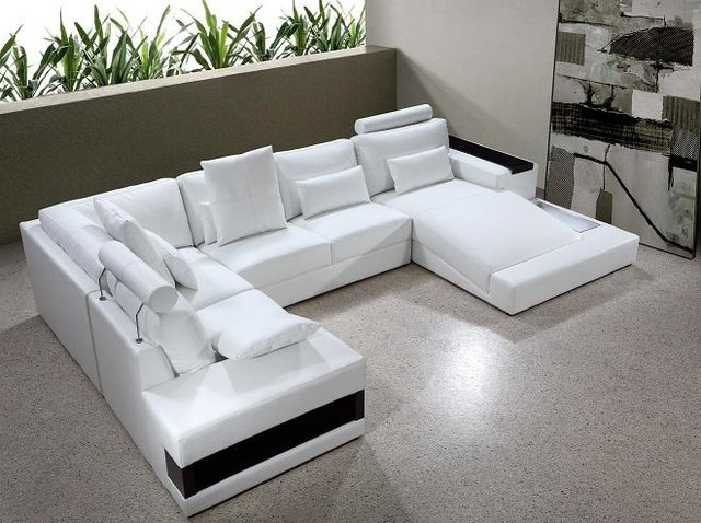 White Bonded Leather Sectional Sofa with Built-in Lights ...