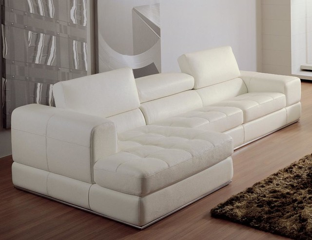 White bonded leather sectional sofa with chaise modern for Bonded leather sectional sofa with chaise