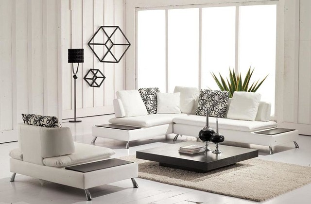White Bonded Leather Sectional With Chair Attached End Tables Modern Living Room
