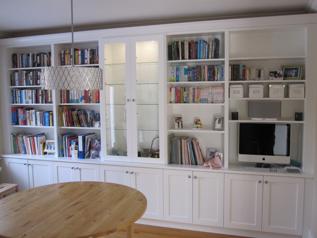white bookcases with built in desk traditional living
