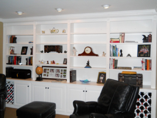 White Bookshelves With Built In Wine Rack