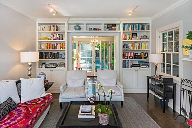 White Built In Bookshelves Traditional Living Room