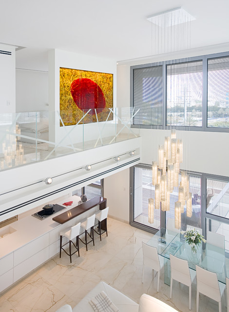 White candles chandelier - luxury chandelier by Galilee Lighting modern-living-room