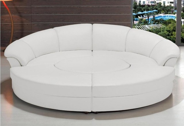 White Circular Leather Sectional Sofas Modern Living Room Los Angeles By Eurolux Furniture