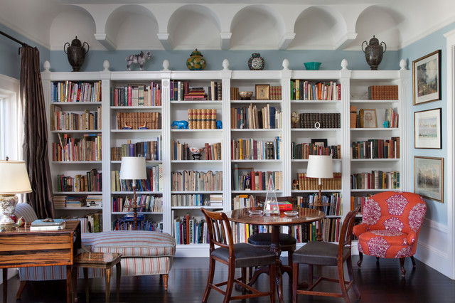 White Custom Bookcases. - Eclectic - Living Room - San ...