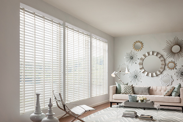 white faux wood blinds cloth tape blinds graber wood blinds modern living room denver. Black Bedroom Furniture Sets. Home Design Ideas