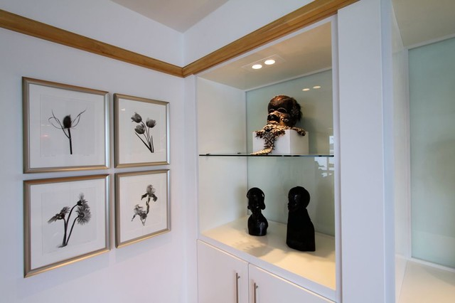 White Lacquer Art Display Cabinet with Sandblasted Glass Back ...