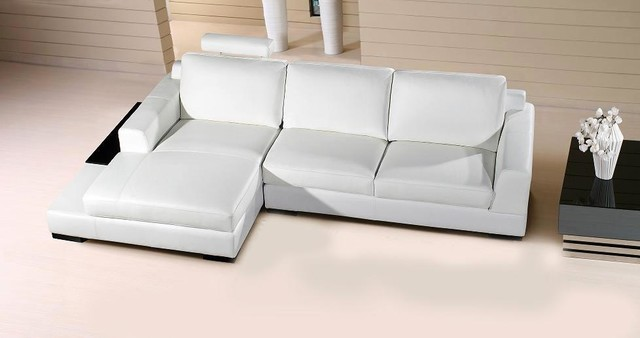 white leather compact sectional sofa with chaise modern living