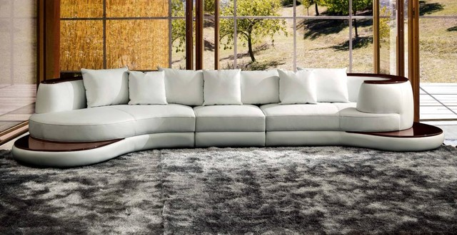 White Leather Contemporary Sectional Sofa With Wooden Trim  Modern Living Room