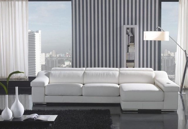 White Leather L Shape Sectional Sofa With Chaise Modern
