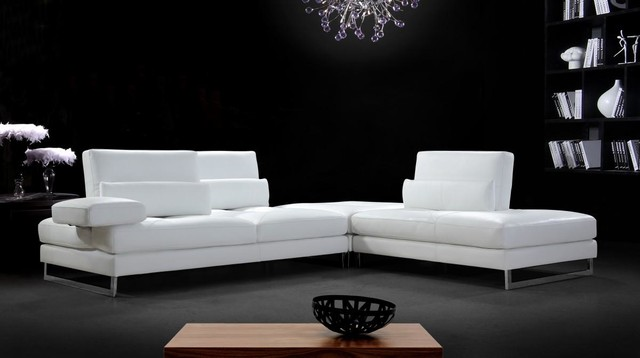 White Leather Sectional Sofa With Adjustable Backrests