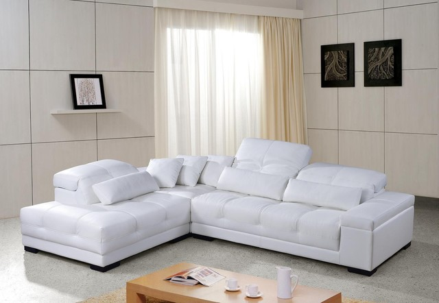Superb White Leather Sectional Sofa With Adjustable Headrests Modern Living Room