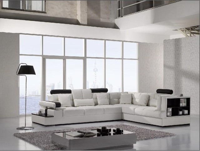 White Leather Sectional Sofa With Attached End Table Built In Shelf Modern Living
